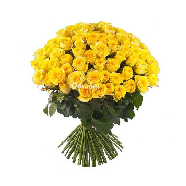 Заказать букет из 101 подмосковной желтой розы